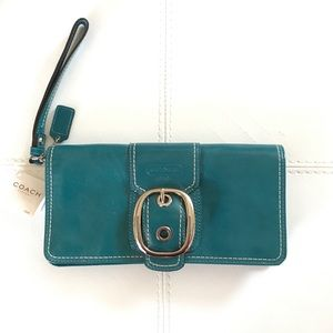 Coach Turquoise Leather Wristlet